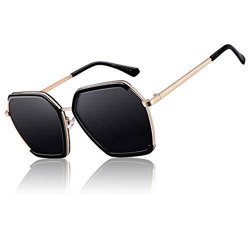 CGID Klassische Oversized Eckige Polarisierte Sonnenbrille für Frauen Retro Damen Sonnenbrille 100 % UV400 Brille Schwarzes Gestell Graue Gläser M51