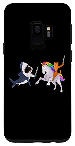 Galaxy S9 Funny Cat Riding Magical Unicorn Sword Fighting Shark Case