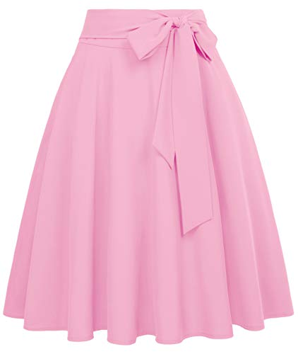 Belle Poque Pink Skirt for Summer Plus Size High Waisted Skirt with Pocket Midi Skirt XX-Large