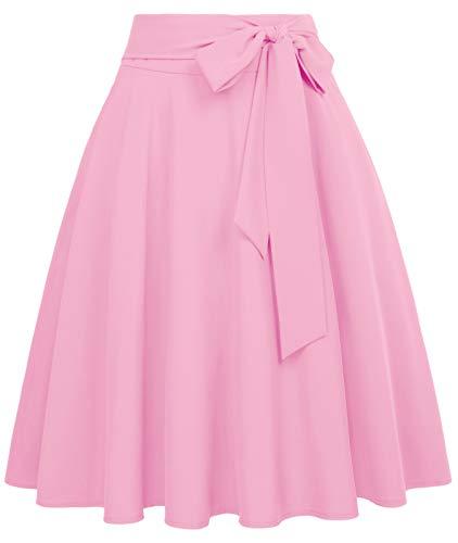 50s Rock Vintag Retro Rock a Linie Knielang Rock elegant rosa röcke BP561-3 XL