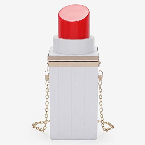 ANAN Creativa Lápiz Labial Bolsa,Mini Bolso Mujer Maquillaje Personalidad Bolso Tarde Bolso Cadena,para Señoras Las Muchachas Partido Elegante Boda Baile Cena Bolsa Vida Diaria Ropa Accesorios,Blanco