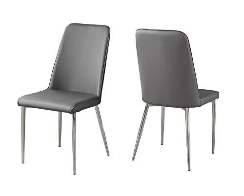 BESTSOON sillas de comedor de estilo retro 2 sillas de comedor de cuero sintético con patas cromadas y modernas sillas de comedor - gris para comedor, sala de estar, cocina