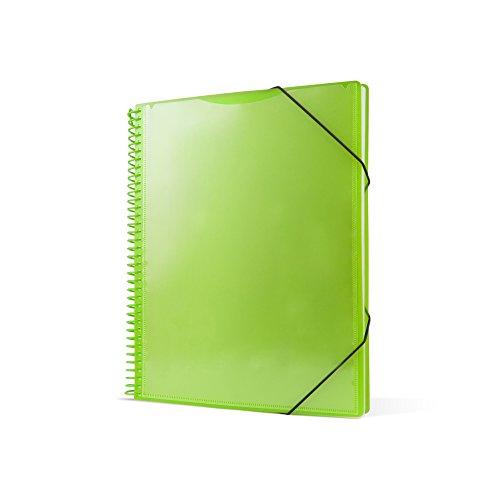 Pryse 4240064 - Carpeta espiral con 60 fundas, A4, color verde