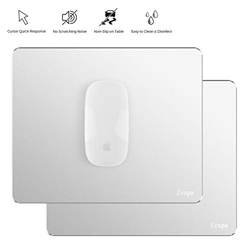 Hard Silver Ultra-Quiet Moving Super Non-Slip Metal Aluminum Mouse Pads, 2-Pack, Rubber Bottom, Protect Desktop, Ultra-Thin, Clean Easily, for Apple Magic Mouse MacBook Laptop, 8.7x7.1 inch