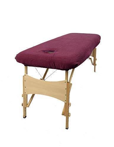 aztex Funda protectora para mesa de masaje, adecuada para salones, spas y terapeutas, con o sin orificio facial, berenjena - con orificio facial