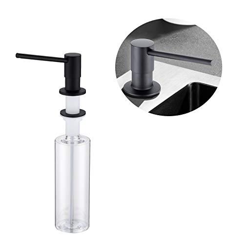 Lonheo Seifenspender schwarz Einbau Küche Spülmittelspender, mit 500ml Flasche, Spülmittelspender modern Zubehör für Küche Spülbecken
