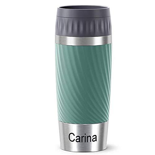 Sterngraf Thermobecher MIT Gravur - UNTEN - (z.B. Namen) TRAVEL Mug Easy Twist Manschette grün Petrol 360ml, 4h heiß/ 8h kalt, 100% dicht, auslaufsicher, Kaffee & Tee Thermo to-go-Becher