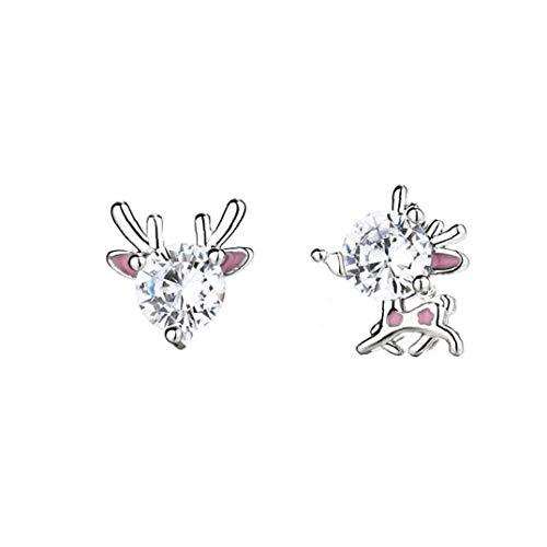 Women Christmas Stud Earrings Creative Pink Elk Shape Design Ear Studs Fashion Simply Earrings Cute Elk Ear Studs Christmas Jewelry 1Pair