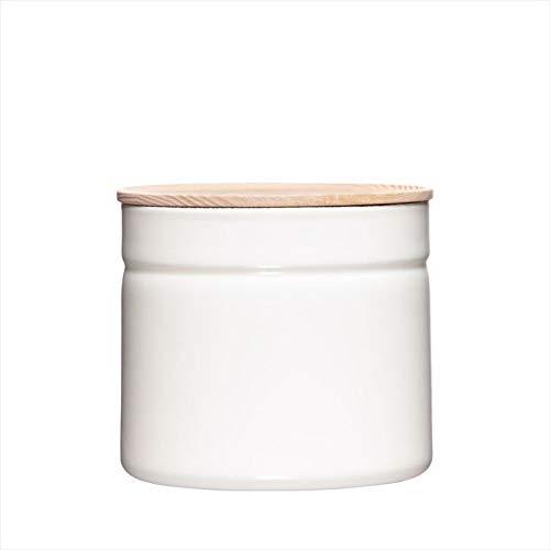 Riess, 2174-212, Vorratsdose mit Eschenholzdeckel, Durchmesser 13 cm, Höhe 12 cm, Inhalt 1350 ml, PURE WHITE, KITCHEN-MANAGEMENT, Truehomeware, Emaille