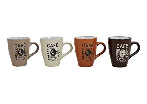 WOMA Kaffeetassen Set aus Keramik - 4 Tassen - mit Café Aufdruck in Brauntönen, 11cm hoch, 250ml