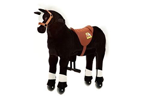 Animal riding ZRP001S Reitpferd Maharadscha (für Kinder ab 3 Jahren, Sattelhöhe 56 cm, mit Rollen) ARP001S, Schwarz, S