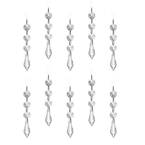 K9 Kristallen kralen ketting, super helder glas achthoekige kristallen kralen, kroonluchter deur en raam bruiloft partij vakantie goud glitter kristal sieraden (10 Pack * 1m lang) (kraal gordijn)