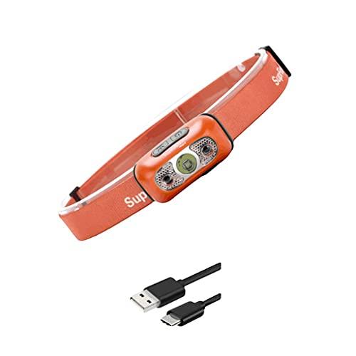 DIRIGIÓ Linternas de cabeza de alto rendimiento de luz de cabeza para exteriores/camping/corriendo, faros para adultos y niños-negro/naranja (Color : Orange, tamaño : 2 W)