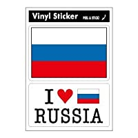 FIL-11 国旗ステッカー RUSSIA ロシア 2枚セット スーツケースステッカー アイラブステッカー