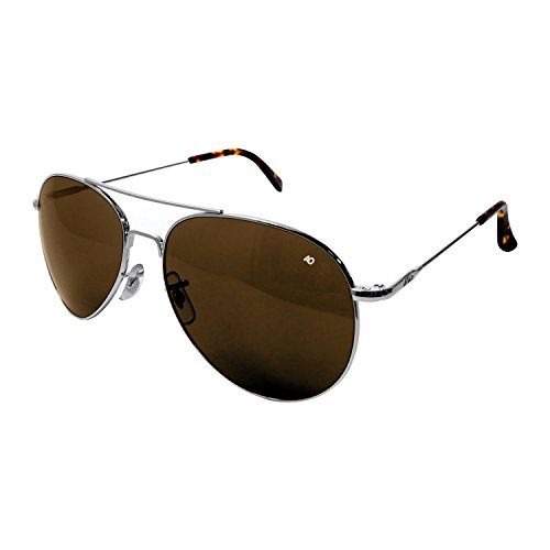 American Optical - General Aviator Sunglasses with Wire Spatula Temple and Silver Frame, Cosmetan Brown Glass Lens, 52mm