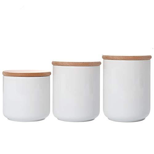 OnePine 3er Set Vorratsdosen Keramik mit Buche holz deckel Vorratsdose Kaffeedose Teedose - Weißes Porzellan Aufbewahrungsdosen für Tee Kaffee Bohne Zucker Gewürz Nüsse Korn
