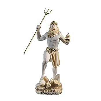 Poseidon Greek God of The Sea with Trident Statue Figurine Gold Alabaster 9.05