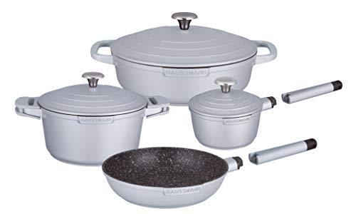 Haussmann Héritage® - Batería de cocina (9 piezas, revestimiento de piedra, sin PFOA, mango extraíble, apta para inducción, 9 unidades), color gris