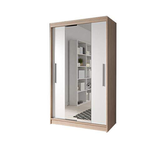 mb-moebel Moderner und funktionaler SchiebetürenSchrank Kleiderschrank Schrank Garderobe Zweitürenschrank Spiegeltür 120 cm NOAH 01 (Sonoma + Weiß)