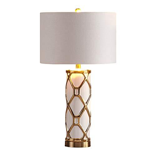 Lámpara de mesita de noche Lámpara de mesa de noche, Nordic Creative Ceramic Dormitorio Light Tela simple Pantalla Mesita de noche Lámpara de escritorio Dormitorio Salón Regulable Lámpara de mesa de c