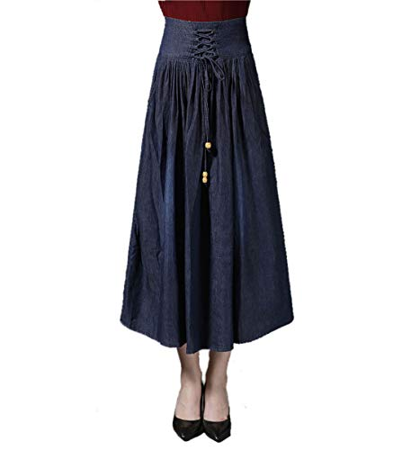 Jinglive Mujeres Jeans Falda Casual Plisado Maxi Falda de Playa Cintura Alta Denim Faldas de Partido Fiesta Coctel,Primavera Otoño Nuevo