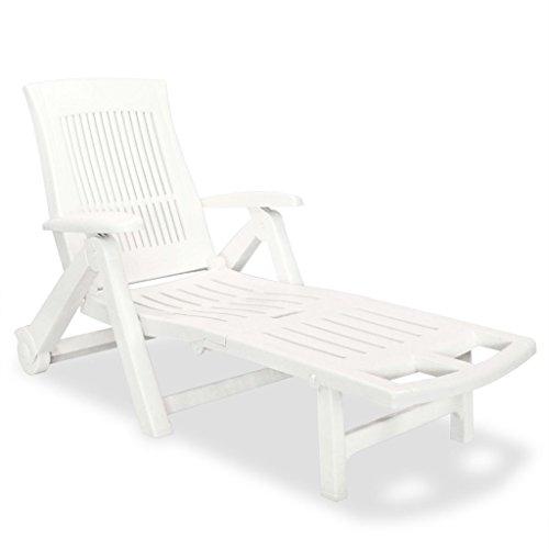 vidaXL Sonnenliege Kunststoff Weiß Gartenliege Strandliege Relaxliege Liege
