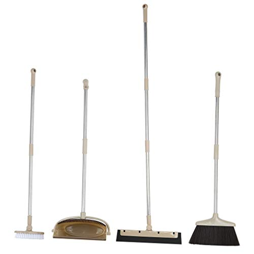 Pidgey Cleaning Set with Besom, Cymbal, Magic Besom and Floor Brush 4PCS Combined Vertical Cleaning Household Devices, Easy to USE (Shipment from USA, Khaki)