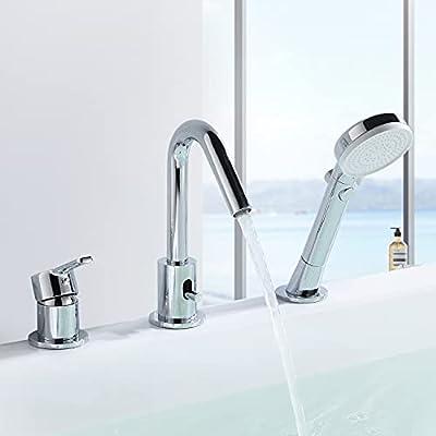 CREA Bathtub Faucet Single Handle 3-Hole Widespread Roman Bath Tub Faucet with Pull Out Handheld Shower(Chrome)