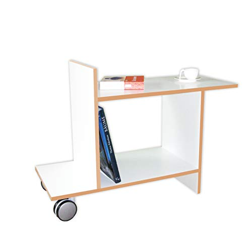 Tojo Freund | Beistelltisch mit Rollen | Designer Beistelltisch aus Holz | Weiß | Modernes Design | Kleiner Tisch für Wohnzimmer/Küche/Sofa/Couch oder Büro | 80 cm x 32 cm (L x T) | 58 cm Hoch