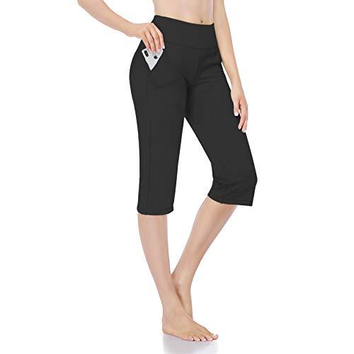 CARXIU Yoga Pants for Women Capris with Pockets Regular Straight Leg Tummy Control Workout Jogging Pants Q03-Black-M
