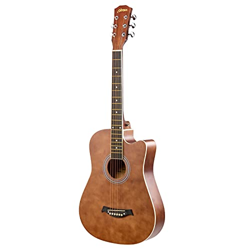 Olycism Guitarra Acústica de 38 pulgadas para principiantes folclórica kit de guitarra acústica Cutaway Dreadnought con bolsa de púas y correa color marrón mate