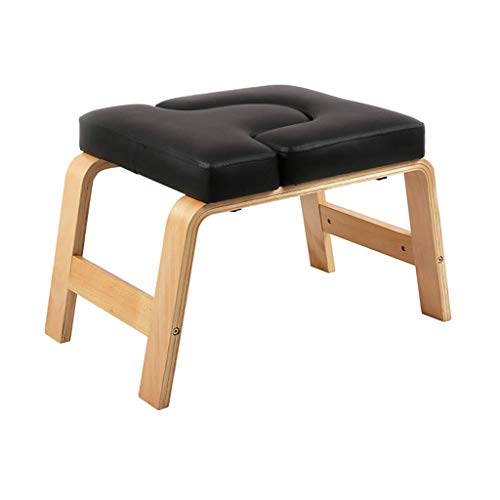 Great Price! DLT Wooden Yoga Chair Headstand Bench with Black Cushion, Fitness Birch Yoga Chair Inve...