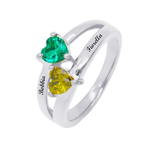 Personaliza 2 anillos de piedra natal DIY anillo con nombre anillo en forma de corazón anillo de promesa Navidad para novia(Plata 17.25)