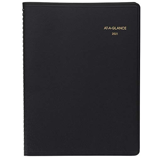 """2021 Weekly Appointment Book & Planner by AT-A-GLANCE, 8-1/4"""" x 11"""", Large, Black (709500521)"""