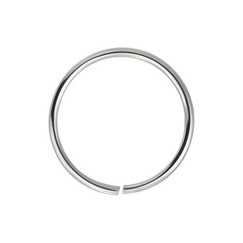 9K Bianco Oro Calibro 22-6MM Diametro Cerchio Aperto Continuo Senza Cuciture Naso Anello Piercing da Naso
