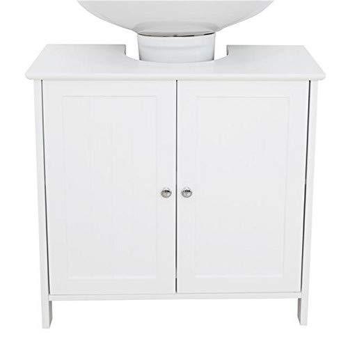 House & Homestyle Ashby Meuble sous lavabo pour économiser de l'espace dans la Salle de Bain, Solution de Rangement 2 Portes – Finition Bois Blanc, H 61cm x W 60,5cm x D 30,5cm
