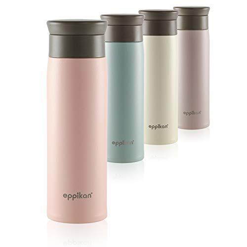 eppikan® Edelstahl Thermobecher- Isolierbecher, Kaffee-to-go Becher, 350 ml, 500 ml Travel Mug, Autobecher, eppiToGo, 100% auslaufsicher mit hygienischer 360°-Trinköffnung (Powder Pink, 500 ml)