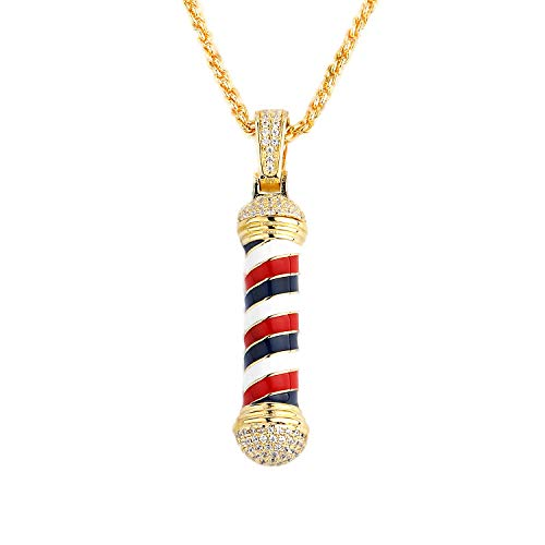 "TENGLAI Perfect Holiday for Her Hip Hop Barber Necklace for Men, Punk Iced Out Rotating Barbershop Jewelry Pendant Necklace Come with 24"" Rope/Box Chain"