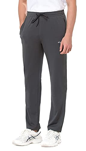 clothin Men's Exercise Pants with Zipper Pockets Elastic Waist Sweatpants for Athletic Running Fitness(Grey-L)