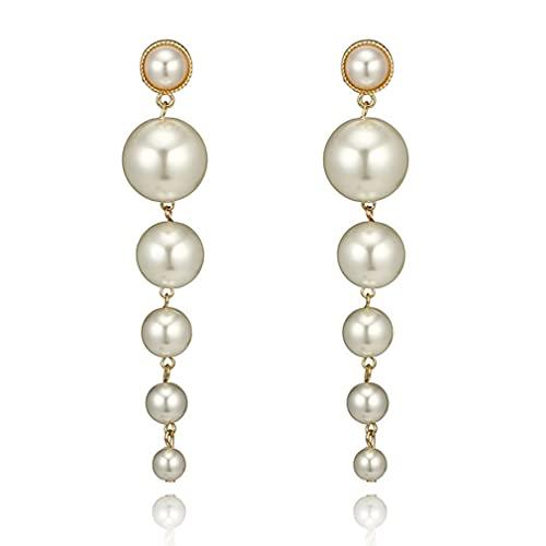 SeniorMar-UK Pendientes de Perlas de Moda Pendientes Colgantes de Boda Elegantes de Gota Larga Vintage para Mujer Regalos de joyería de Moda Blanco