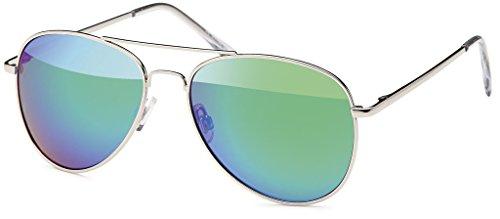 Balinco Pilotenbrille Sonnenbrille 70er Jahre Herren & Damen Sunglasses Fliegerbrille verspiegelt (Silver/Ice)