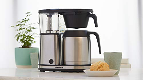 Bonavita Connoisseur 8-Cup One-Touch Coffee Maker Featuring Hanging Filter Basket and Thermal Carafe, BV1901TS, Stainless Steel, Chrome