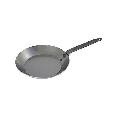 Adcraft Matfer Bourgeat 062003 Black Steel Round Frying Pan, 10 1/4-Inch, Gray