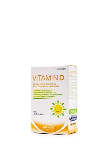 Vitamin D 10ml, complemento alimenticio que incorpora un alto contenido de vitamina D. Dosificación de 1 a 3 gotas según criterio del profesional sanitario