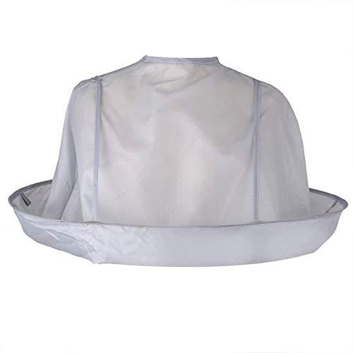 Silverdewi Ropa para Adultos Plegable Bufanda para Cortar el Cabello Capa para Colorear el Cabello Capa Paraguas Capa de barbero Transpirable para el hogar del salón - Gris Plateado