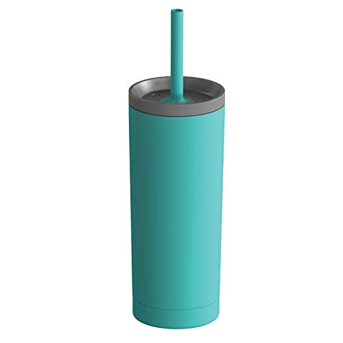 Asobu Sippy Double Wall Stainless Steel Tumbler with Silicone Flexible Straw 20 Ounce (Teal)