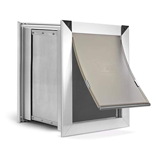 Extreme Dog Door Pure Aluminum Medium Dog Door for Wall, Pet Door for Wall with Sliding Lockout Panel, Expanding Box Tunnels, and Easy to Install Metal Frame for Dogs and Cats