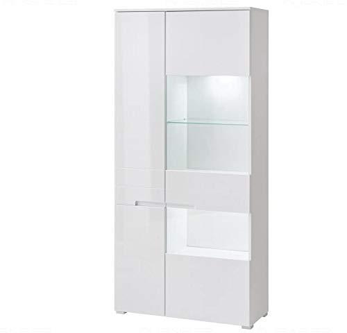 Schrankanzeige LED Bücherregal 90 cm Schminktisch Außenwand (Tür) mit MDF-Farbfläche (Glanz),White
