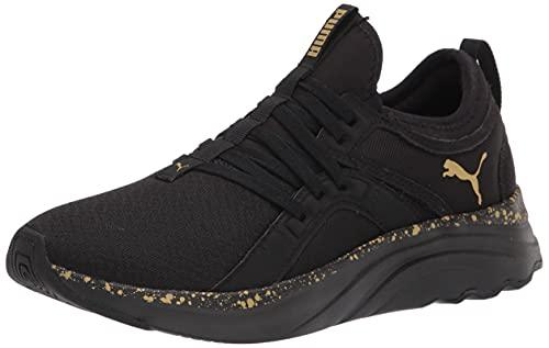 PUMA Women's Softride Sophia Running Shoe, Black Team Gold, 6