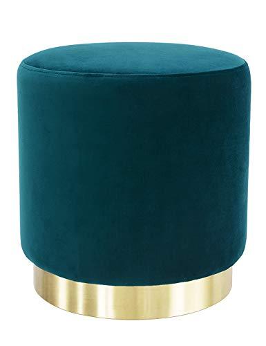 pouf sgabello Poggiapiedi Pouf Sgabello per Tavolo da Trucco Toeletta Salotto Camera da Letto Moderno Rotondo Puff in Velluto Base Dorata Verde